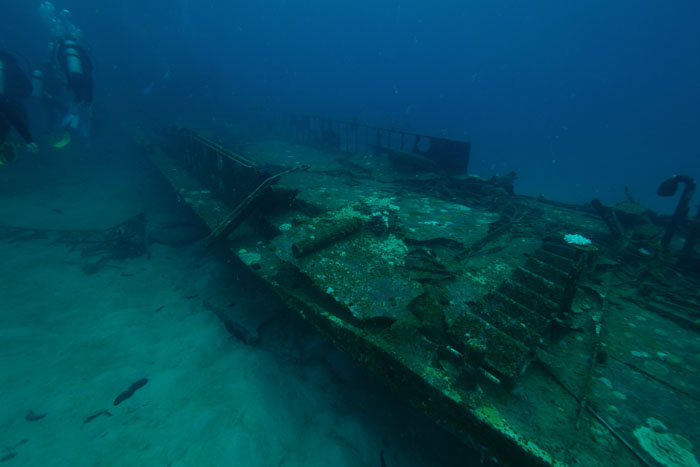 The wreck is a fishing boat